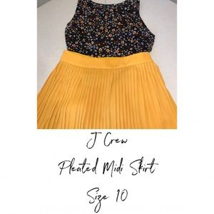 J. Crew Skirts - J Crew Pleated Midi Skirt Size 10